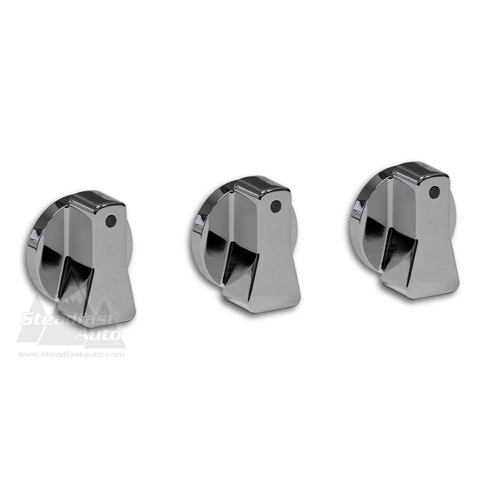 Ford F-250 Billet Aluminum A/C Knobs - Chrome - 1997-2004 All