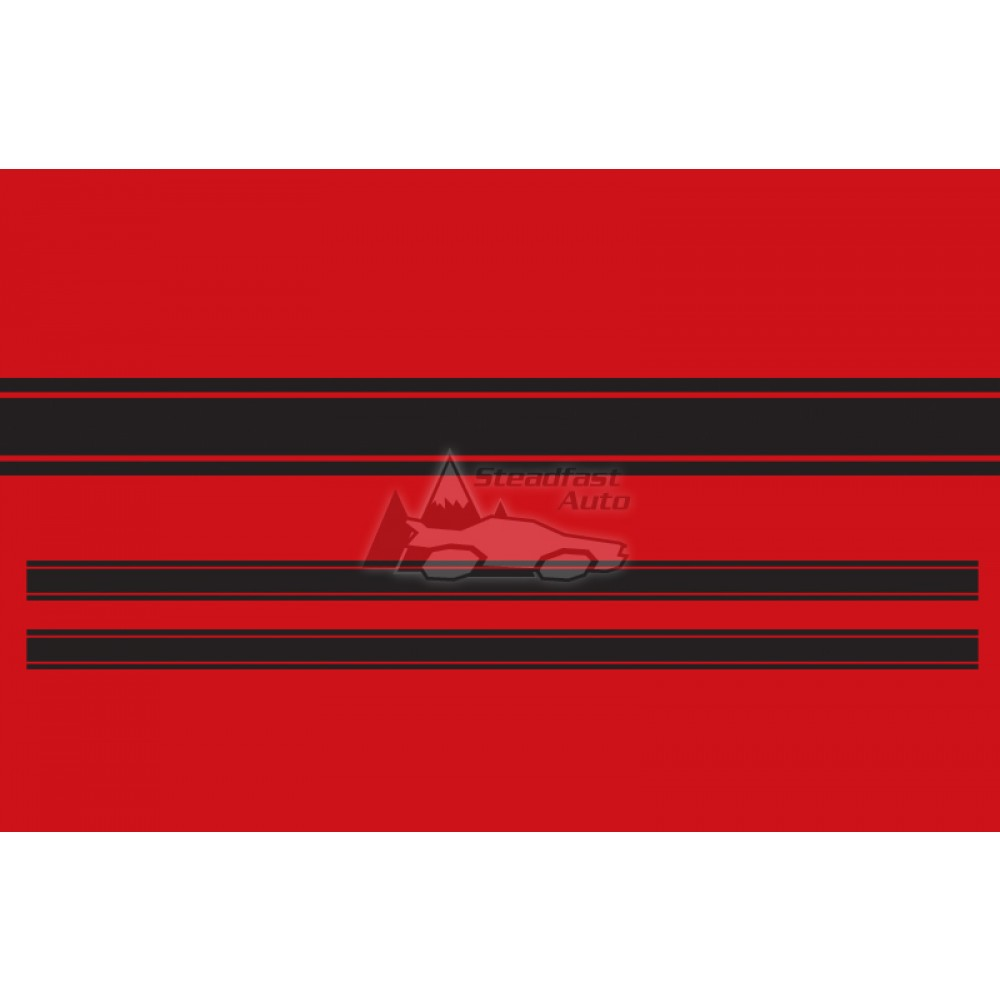 Ford Mustang Tri-Bar Rocker Stripe - Vinyl - Black